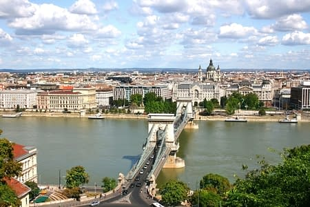 View of Budapest over the River Danube from Castle Hill. Hungary